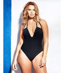 icon provence non-wired halter soft shaping black one-piece swimsuit