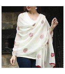 cotton and silk blend shawl, 'chikan roses in claret' (india)