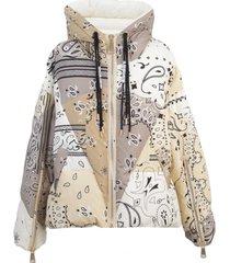 khrisjoy beige bandana puffer jacket