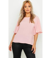 plus angel sleeve fit & flare top, blush