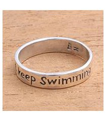 sterling silver band ring, 'just keep swimming' (indonesia)