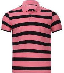 polo franjas negro y rosa color rosado, talla s