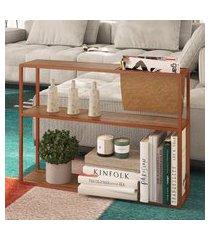mesa lateral steel quadra artesano com revisteiro vermont e cobre