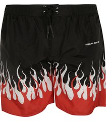 vision of super flame print shorts