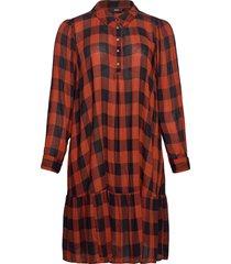 dress buttons plus check collar viscose kort klänning svart zizzi