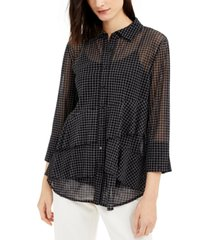 alfani asymmetrical-tiered mesh top, created for macy's