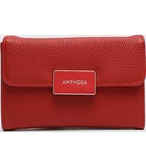billetera mediana con cierre exterior cerpy rojo amphora