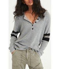 camicetta in maglia patchwork colore collo girocollo casual per donna