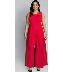 lane bryant women's mesh overlay jumpsuit 16 lipstick red