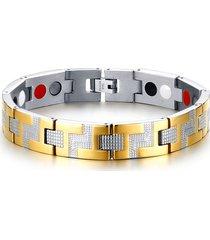 braccialetto a catena alla moda braccialetto magnetico a singola fila accessori eleganti per uomo in oro