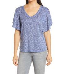 women's bobeau hacci flutter sleeve top, size x-small - blue
