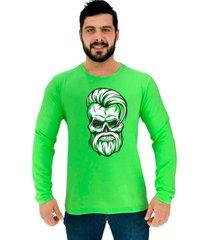 camiseta manga longa moletinho alto conceito caveira hipster style beard verde neon - verde - masculino - algodã£o - dafiti