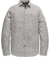 pme legend long sleeve shirt melange print dark grey lange mouw grijs