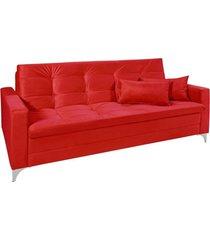 sofá cama 3 lugares facility reclinável império estofados vermelho