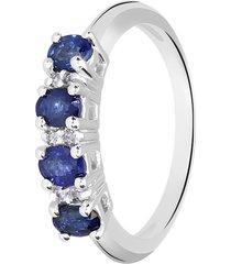 anello in oro bianco, zaffiri 1,00 ct e diamanti 0,07 ct per donna