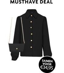 musthave deal blouse + mini bag zwart
