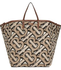 burberry extra large embroidered monogram beach tote - neutrals
