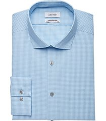 calvin klein infinite non-iron french blue mini check slim fit dress shirt
