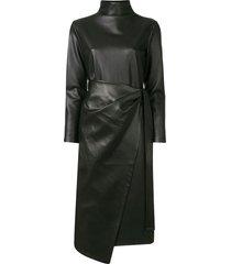goen.j faux leather wrap dress - black