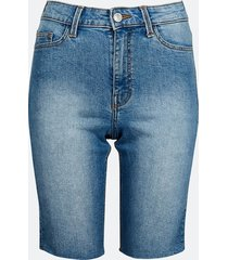 långa shorts i denim med hög midja - blå