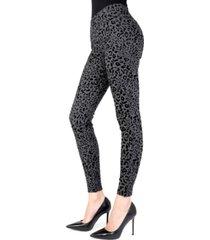 cheetah flocked shaping women's leggings