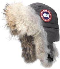 women's canada goose aviator hat with genuine coyote fur trim -