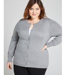 lane bryant women's button-front cardigan 10/12 medium heather grey