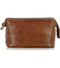 chiarugi designer travel bags, brown genuine leather beauty case