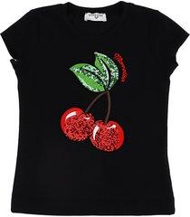 monnalisa cherries paillett jersey t-shirt