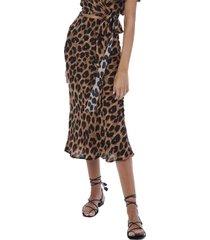 allison new york women's leopard midi slip skirt
