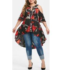 plus size keyhole cold shoulder high low floral blouse