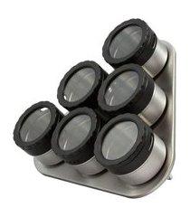 jogo de porta-condimentos com suporte moon 7 peças - c de casa