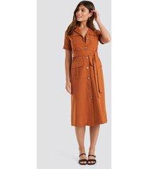 trendyol buttoned midi dress - orange