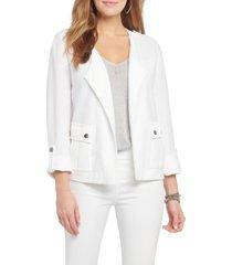 women's nic+zoe in flight linen blend knit jacket, size x-small - white