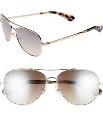 women's kate spade new york avaline 58mm aviator sunglasses - gold havana