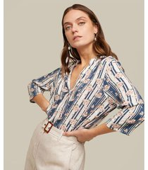 blusa pechera corta manga 34 estampada