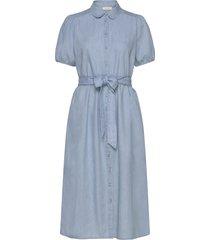 slfnovo ss midi dress w knälång klänning blå selected femme