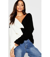 knitted colour block twist front sweater, black