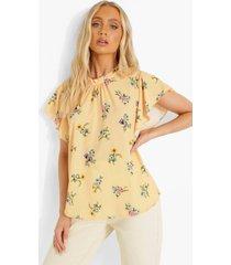 bloemen blouse met wijde mouwen, peach