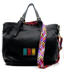 bolso de cuero negro leblu