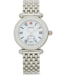 stainless steel & diamond mesh bracelet watch