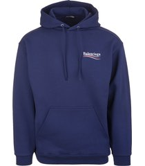 blue man hoodie with political campaign logo