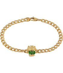 gucci 18kt yellow gold lion head chrome diopside and diamond bracelet