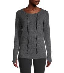 blanc noir women's merino wool sweater - black - size xs