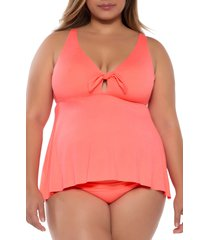 becca etc. color code tankini top, size 1x in coral at nordstrom