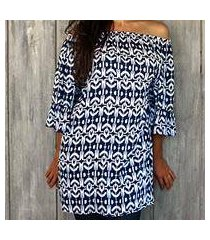 rayon tunic, 'candidasa blue' (indonesia)