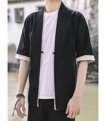 cárdigan liso de manga de protección solar con hebilla suelta de estilo japonés de verano para hombre