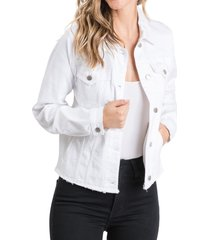 women's l.t.j raw hem denim trucker jacket, size medium - white