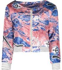 ethnic women's scoop neck long sleeve print loose-fitting jacket