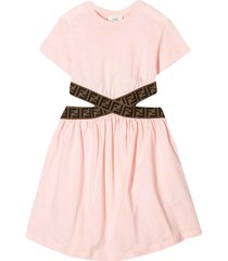 fendi pink flared dress with cut-out details